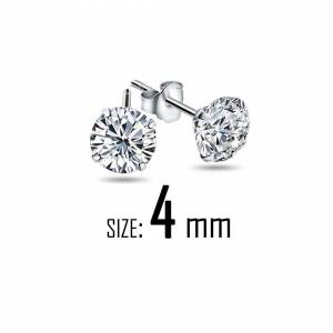 Cadoline Silver Plated 4mm Simple Small Crystal Stud Earrings Mens Womens Gift