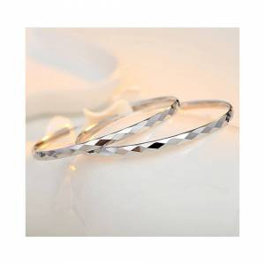 Cadoline Silver Plated Large Thin Round Circle Pattern Hoop Earrings Big Hoops 60mm
