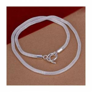 Cadoline Silver Plated Chainmain Hollow Mesh Snake Chain Necklace Cable Net