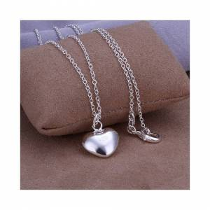 Cadoline Silver Plated Chunky Heart Pendant Necklace 1.4 x 1.4 x 0.6cm With 18 Inch Chain