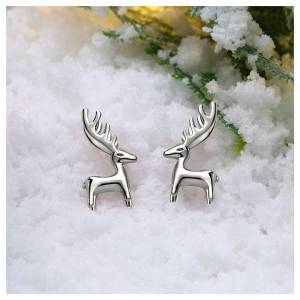 Cadoline Silver Plated Reindeer Stud Earrings Christmas Rudolph Xmas Gift New