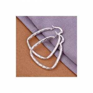 Cadoline Silver Plated Triangle Edged Thin Wave Pattern Hoop Drop Earrings 35mm