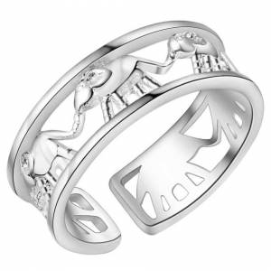 Cadoline Silver Plated Open Adjustable Elephant Herd Parade Band Ring Thumb Toe