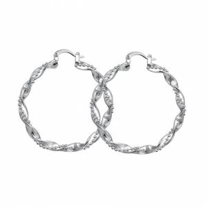 Cadoline Silver Plated Thick Frosted Twist Hoop Earrings Textured Hoops Circle 45mm
