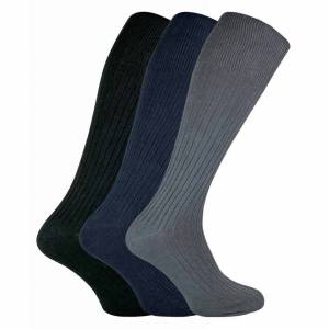 Sock Snob (6-11 UK, Black / Navy / Grey) SOCK SNOB - 3 Pairs Mens Long Knee High Length 10