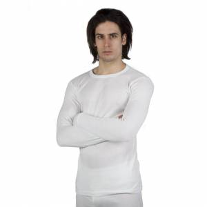Universal Textiles (Chest: 40-42inch (Large), White) Mens Thermal Underwear Long Sleeve T-Shirt Top