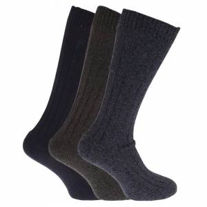Universal Textiles (UK Shoe 6-11, EUR 39-45, Navy/Marl Khaki/Marl Navy) Mens Wool Blend Long Length