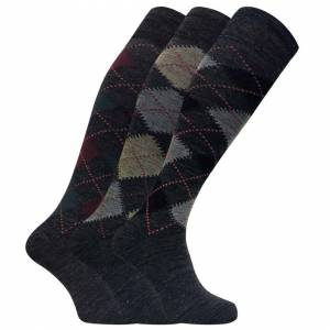 Sock Snob (6-11 UK, Grey) 3 Pairs Mens Extra Long Knee High Argyle Lambs Wool Dress Socks