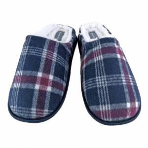 Dunlop (10 UK, Navy) DUNLOP - Mens Warm Fleece Lined Slip On Checked Plaid Slippers