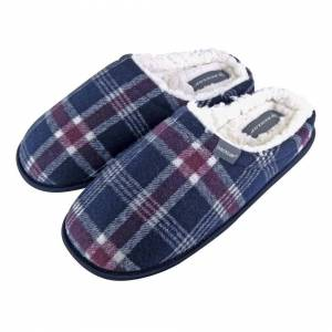 Dunlop (7 UK, Navy) DUNLOP - Mens Warm Fleece Lined Slip On Checked Plaid Slippers