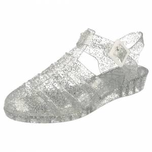 Spot On (UK 6, Silver) Ladies Spot On Casual Jelly Sandals