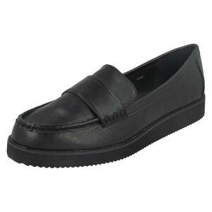 Spot On (UK 4, Black) Ladies Spot On Saddle Trim Thick Sole Shoe