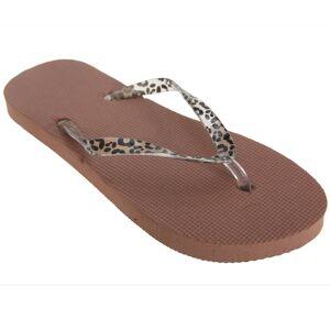 Floso (3-4 UK, Brown) FLOSO Womens/Ladies Toe Post Flip Flops With Leopard Print Strap