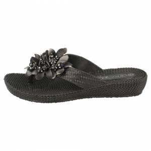 Spot On (UK 7, Black) Ladies Spot On Low Wedge Slip On Sandals With Flower Detail