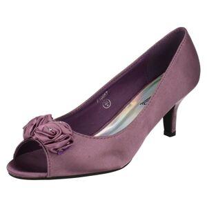Spot On (UK 5, Purple) Ladies Spot On Peep Toe Shoes with Flower Detail