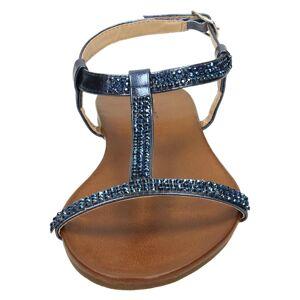 Spot On (UK 5, Navy (Blue)) Ladies Spot On Flat Diamante T-Bar Sandals