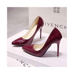 Slowmoose (Red wine 10 cm, 39) Patent Leather Dress High Heels