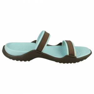 Crocs (UK 10, Chocolate/Sea Foam (Blue)) Ladies Crocs Slip On Sandals Patra