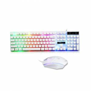 Unbranded (White) Gaming Keyboard Mouse Set Rainbow LED Wired USB For PC Laptop PS4 Xbox