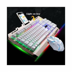 Unbranded (Gold) Rainbow LED Gaming Keyboard & Mouse Set Backlit Wired USB For PC PS4 Xbox