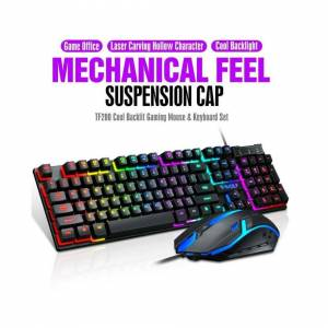 Unbranded Gaming Keyboard and Mouse Set Combo Rainbow LED Backlit Wired USB for PC Laptop