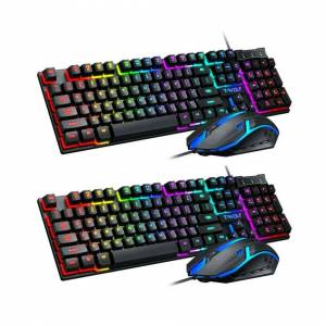 Unbranded Gaming Keyboard and Mouse Combo Rainbow LED Backlit Wired USB for PC Laptop