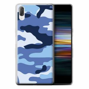 Stuff4 (Blue 2) Camouflage Army Navy Sony Xperia L3 2019 Phone Case Transparent Clear U