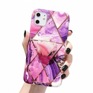 FinestBazaar (Purple, For Apple iPhone 12 Pro) New Shockproof Bumper Clear TPU Case Tempered