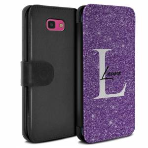 Stuff4 (Purple Sparkle Initial Name) Personalised Custom Handwritten Glitter Samsung Ga