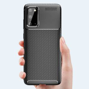 Unbranded Carbon Fibre TPU Black Protective Case Cover for Samsung Galaxy S20