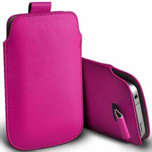 Custom Whip Styling Apple iPhone SE (2020) Hot Pink Pull Tab Sleeve Faux Leather Pouch Case Cover (X