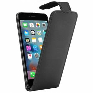 FONEJACKET For iPhone 6 Plus / 6S Plus Vertical Flip Down Case / Cover in PU Leather – Blac