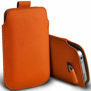 Custom Whip Styling Alcatel 3088 Orange Pull Tab Sleeve Faux Leather Pouch Case Cover (XXL)
