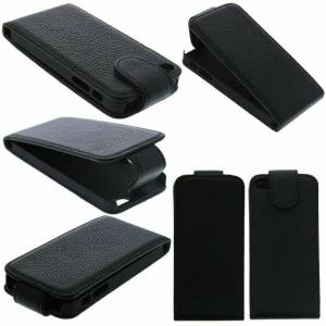 FONEJACKET For iPhone 5 / 5G / 5S / SE Vertical Flip Down Case / Cover in Genuine Leather –