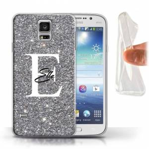 Stuff4 (Silver Sparkle Initial Name) Personalised Custom Handwritten Glitter Samsung Ga
