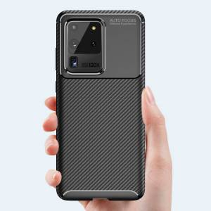 Unbranded Carbon Fibre TPU Black Protective Case Cover for Samsung S20 Ultra