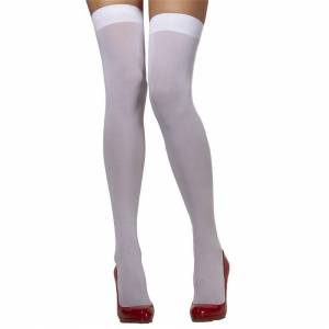 Unbranded White Opaque Hold Ups -  white opaque fancy dress stockings hold ladies over kne