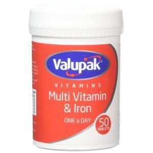 Valupak Multivitamin Plus Iron 50 Tablets