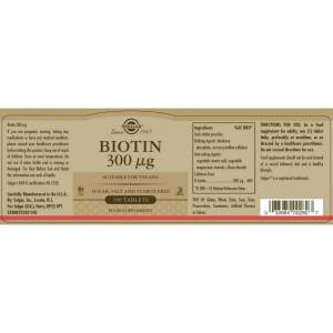 Solgar Biotin 300 µg Tablets - Pack of 100