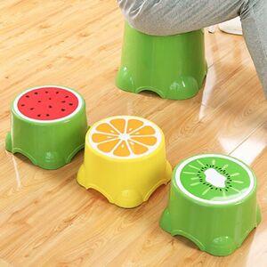 Slowmoose (Green L) Fruit Pattern Living Room Non-slip Bath Bench/Cartoon Child Stool Plas