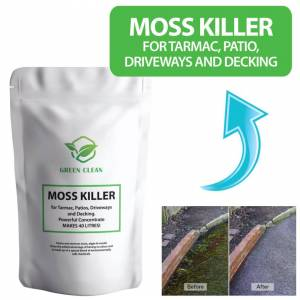 Green Clean (x1 1kg (Makes 40 litres)) Moss Killer for Tarmac, Patio, Driveways and Decking.