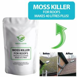 Green Clean (x1 1kg pouch (Makes 40 litres)) Roof Moss Killer Remover Cleaner - KILLS & Remo
