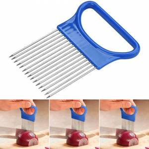 Unbranded Stainless Steel Onion Slicer Vegetable Holder Cutter Kitchen Tool Gadget