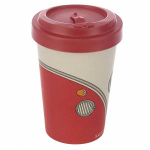 Official Volkswagen (Red T1) VW Bamboo Reusable Eco Friendly Travel Mug Coffee Tea Cup