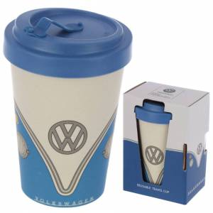 Official Volkswagen (Blue T1) VW Bamboo Reusable Eco Friendly Travel Mug Coffee Tea Cup