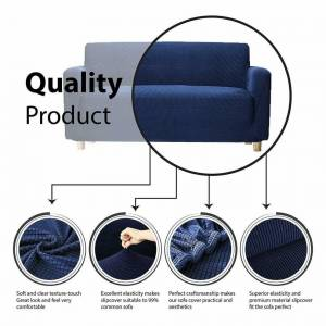 JS One (Navy Blue, 1 Seater(90-140cm)) Stretchable 1/2/3 Sofa Couch Slipcover Cover Set