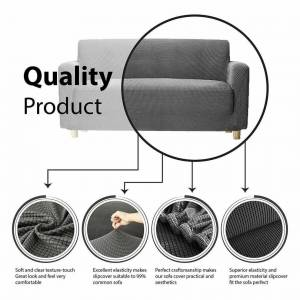 JS One (Grey, 1 Seater(90-140cm)) Stretchable 1/2/3 Sofa Couch Slipcover Cover Settee P