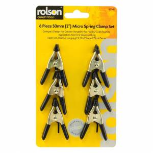 Rolson 50mm 6 Piece Spring Clamp Set -  spring set clamp 6 rolson 50mm pieces micro cla