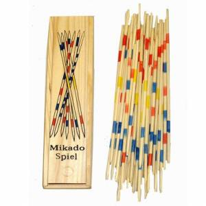 The Home Fusion Company Wooden Retro Traditional Mikado Game Colourful Pick Up Sticks Game Wooden Box