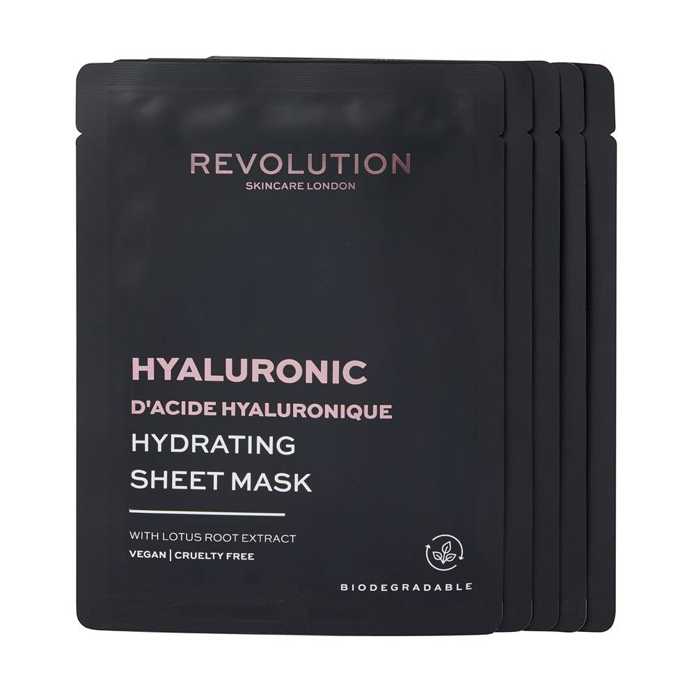 Revolution Skincare Biodegradable Hydrating Hyaluronic Acid Sheet Mask Pack 5pieces